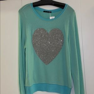 Wildfox Teal Sweater with Large Heart Design